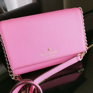 Preowned Kate Spade Pink Leather Envelope Crossbod